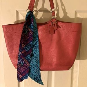 Coach leather Salmon color tote w/scarf